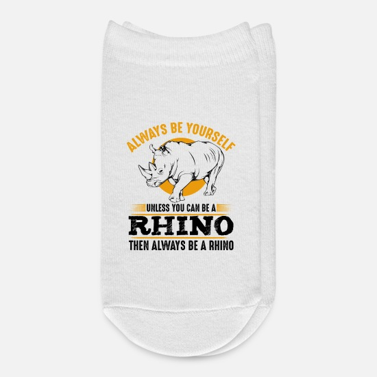 Rhinoceros Socks - Always Be Yourself Unless You Can Be A Rhino - Ankle Socks white