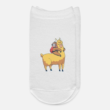 Sit Sloth sitting on llama and hugging - Ankle Socks