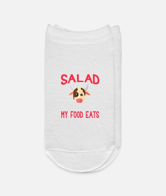 Food Chain Socks - Salad Thats What My Food Eats Cow - Ankle Socks white