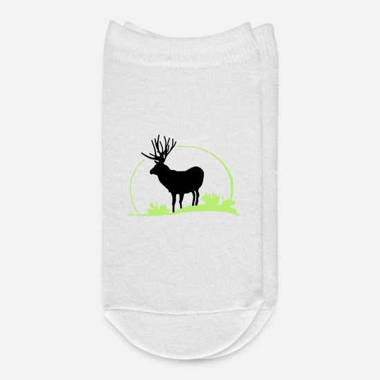 Forest Socks - wild deer,red deer,roe deer,animal,Wilderness, - Ankle Socks white