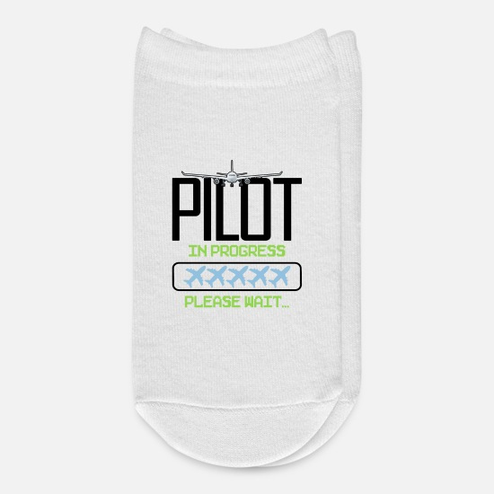 Pilot Socks - Pilot In Progress Please Wait - Ankle Socks white