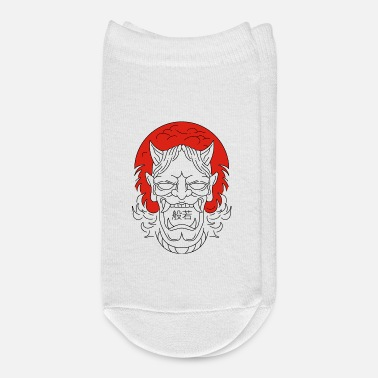 Black Line Japanese Hannya Mask - Ankle Socks