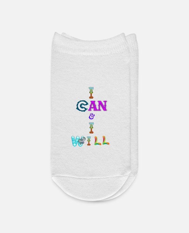 Humourous Socks - I can and I will - Ankle Socks white