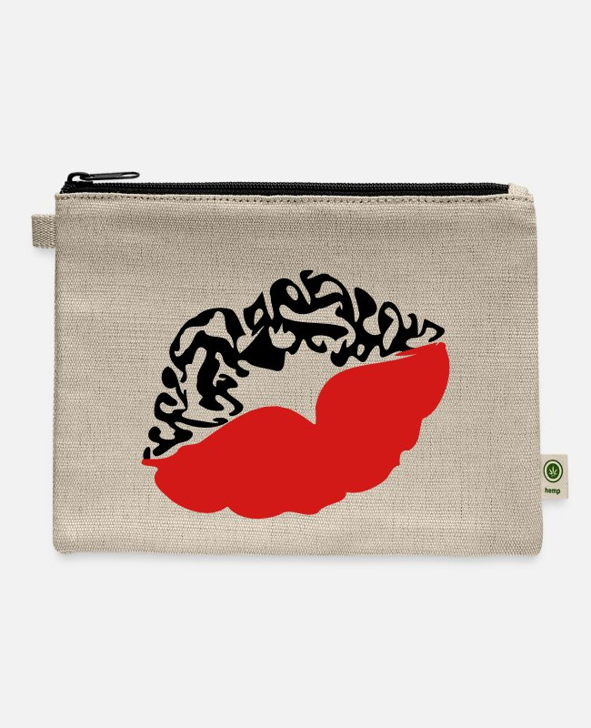 Xoxo Kiss I Love You Sweetheart Lovely Sexy Lips Bags & Backpacks - ♥ټXxSexy Tattooed Luscious Sensual Lips xXټ♥ - Carry All Pouch natural