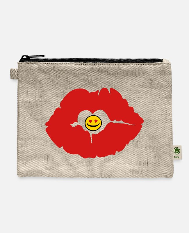 Sensuality Bags & Backpacks - ♥ټXxSexy Smiley Red Luscious Sensual Lips xXټ♥ - Carry All Pouch natural