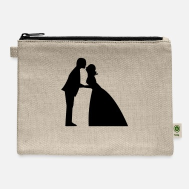 Gown Wedding kiss in bridal gown and suit - Carry All Pouch