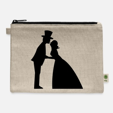 Gown Wedding kiss in a top hat and bridal gown - Carry All Pouch
