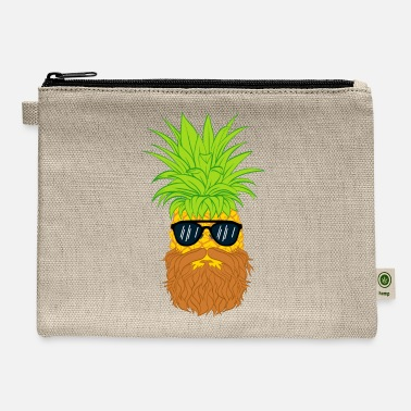 Cool-cute-stylish-mustaches Bearded Fruit Cool Pineapple Graphic Tshirt - Carry All Pouch