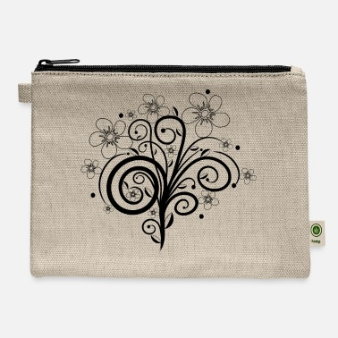 Tendril Pattern black flower tendril, bloom, flowers, floral petal - Carry All Pouch