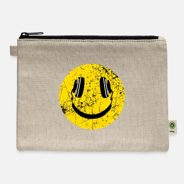 Smiley Headphones Music Lover Headphones Smiley - Carry All Pouch