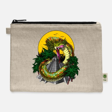 Mayan Designs Quetzalcoatl Aztec God Serpent Mayan Pyramid - Carry All Pouch