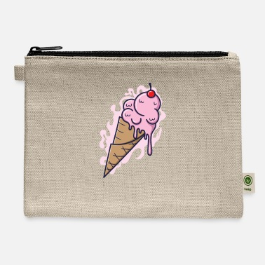Ice Ice cream cone with fruity ice cream and tables - Carry All Pouch