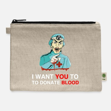 70s Costume I WANT YOU TO DONATE BLOOD - The Vampire Is Happy - Carry All Pouch