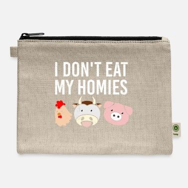 New Father Vegan Vegetarian I don't eat my homies Gift Idea - Carry All Pouch