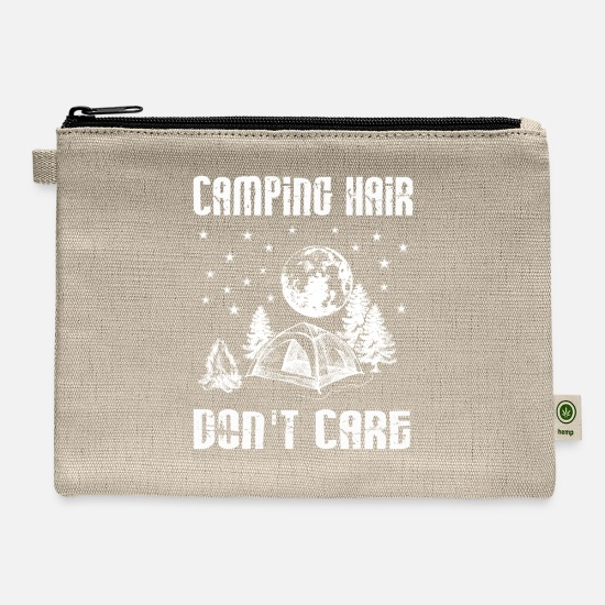Funny Bags & Backpacks - Camping Hair Don't Care Shirt- Funny Camping - Carry All Pouch natural