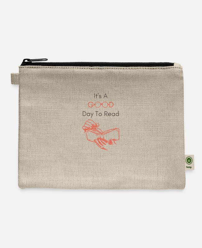 Read Bags & Backpacks - It's a Good Day to Read, Funny Reading Bookworm Te - Carry All Pouch natural