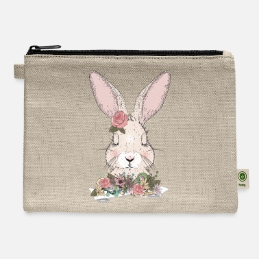 Ornament dreaming rabbit with flowers ornament - Carry All Pouch