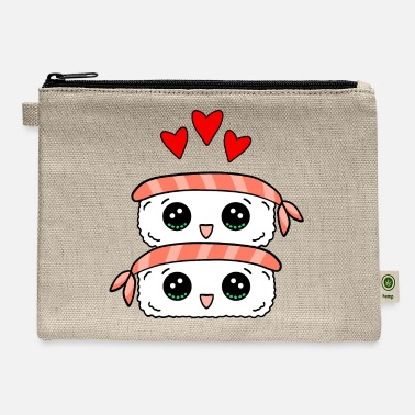 Asian I love sushi. Happy cute Kawaii sushi with shrimp. - Carry All Pouch