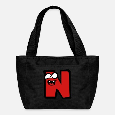 N letter name write cartoon comic face funny alive - Lunch Box