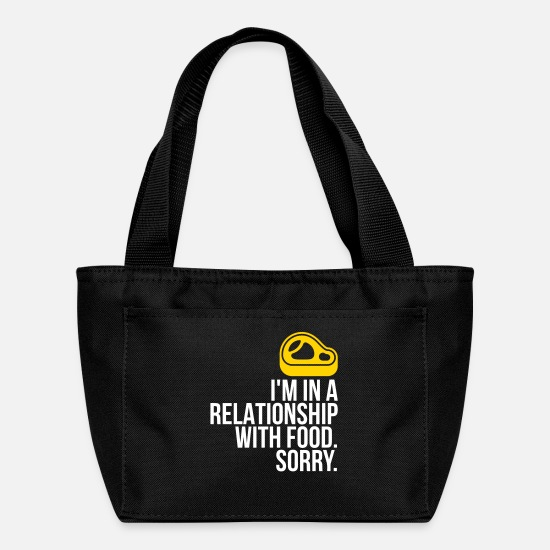 Quotes Bags & Backpacks - I Am In A Relationship With Food - Lunch Bag black