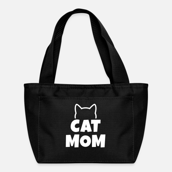 Quote Bags & Backpacks - cat mom - Lunch Bag black
