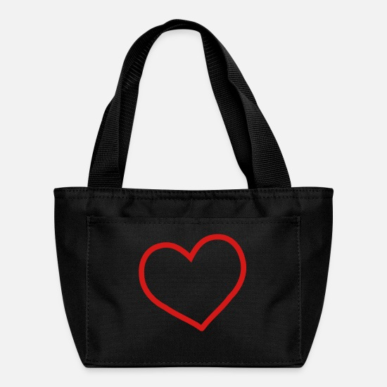 Love Bags & Backpacks - red heart - Lunch Bag black