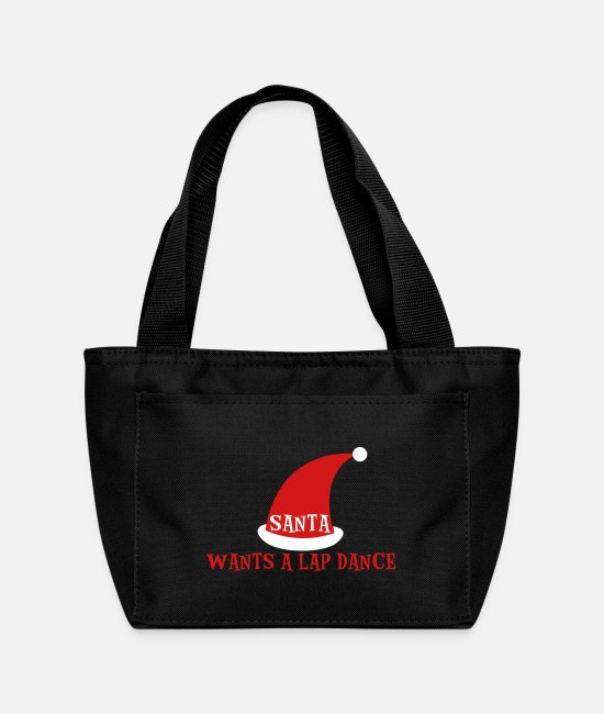 Christmas Bags & Backpacks - SANTA WANTS A LAP DANCE christmas design - Lunch Bag black