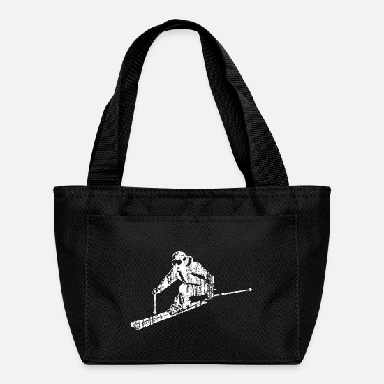 Ski Hut Bags & Backpacks - Skiers on the ski slopes in a sporty and fast way - Lunch Bag black