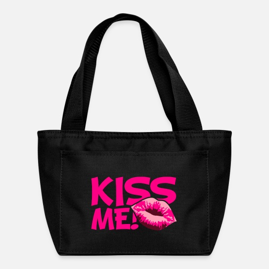 Love Bags & Backpacks - Kiss Me Girl Kiss Mouth - Lunch Box black