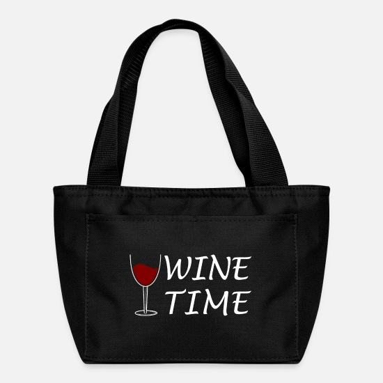 Alcohol Bags & Backpacks - Wine time gourmet alcohol gift idea present - Lunch Bag black