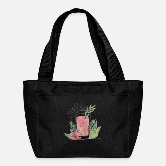 With Bags & Backpacks - Watercolor Cocktail With Palms - Lunch Bag black