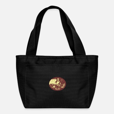 Stall Taco Cook in Food Stall Oval Retro - Lunch Bag
