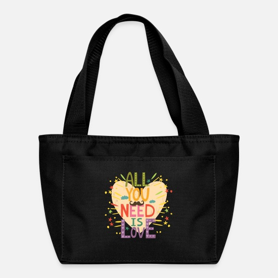 Love Bags & Backpacks - All you need is love (with a mustache) - Lunch Box black