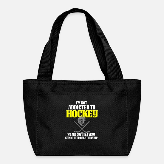 Funny Bags & Backpacks - Funny Hockey Design Not Addicted To Hockey - Lunch Bag black