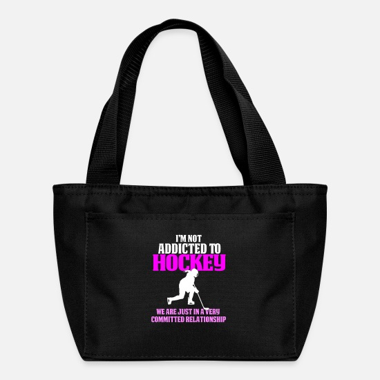 Hockey Bags & Backpacks - Funny Hockey Girl Design Not Addicted to Hockey - Lunch Bag black