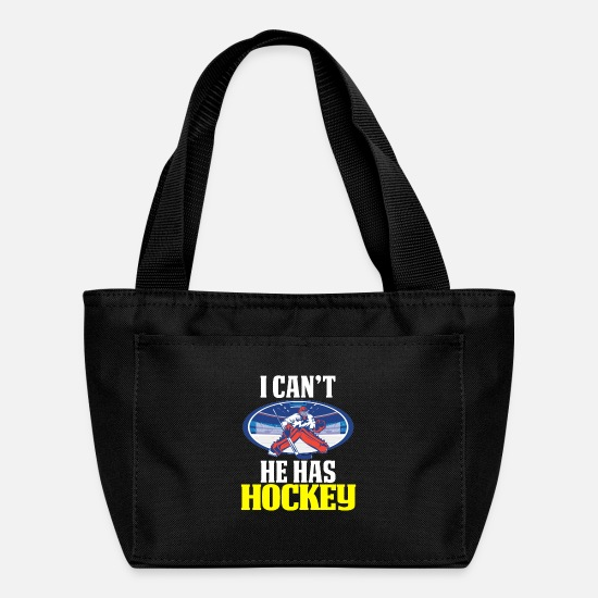 Hockey Bags & Backpacks - Funny Hockey Mom Design Goalie I Can't He Has Hockey - Lunch Bag black