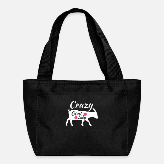 Goat Bags & Backpacks - Crazy Goat Lady, Gift for Goat Lover, Raising Goats - Lunch Box black