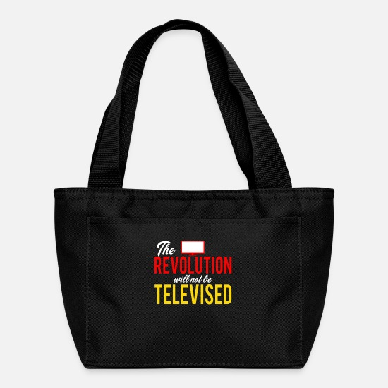 Vintage Car Bags & Backpacks - Harvest The revolution will not be televised - Lunch Bag black