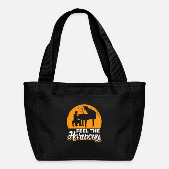 Birthday Bags & Backpacks - Feel the Harmony Piano Concert Gift idea Quote - Lunch Bag black
