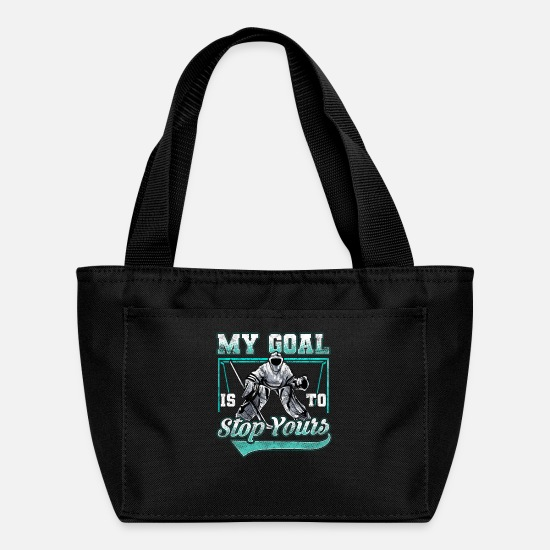 Birthday Bags & Backpacks - Funny Hockey Defender Denying Goals - Lunch Bag black