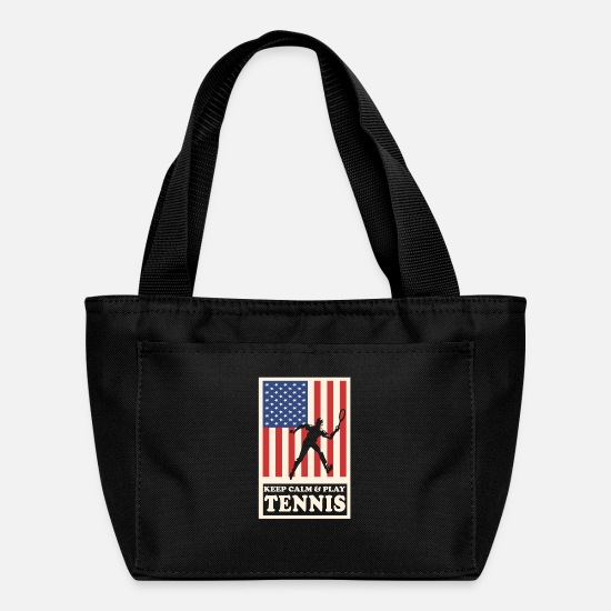 Play Bags & Backpacks - Keep Calm And Play Tennis USA Flag Design - Lunch Box black