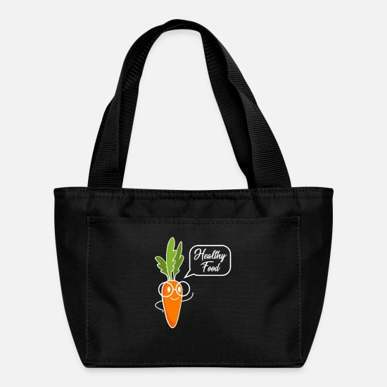Natural Bags & Backpacks - Health Healthy Vegan Vegetarian Carrot food gift - Lunch Box black