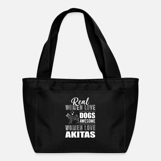 Love Bags & Backpacks - Real Women Love Dogs Awesome Women Love Akitas wh - Lunch Box black