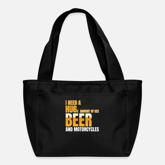 Alcohol Bags & Backpacks - Beer and Motorcycles Funny Dad Grandpa Gift - Lunch Box black