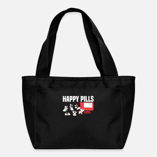 Dachshund Bags & Backpacks - happy pug dog pills retriever terrier gift - Lunch Box black