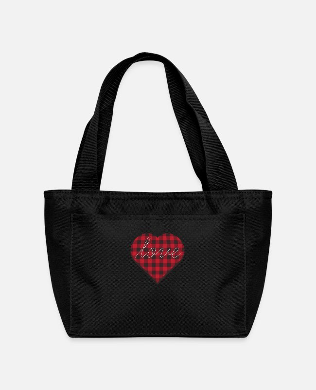 Heart Lunch Boxes - love heart - Lunch Bag black