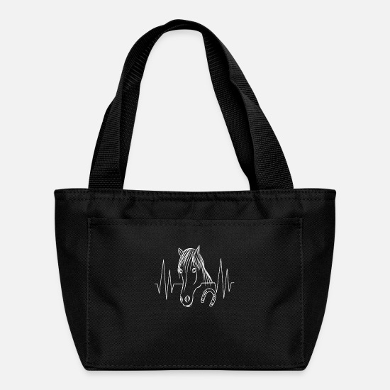Horseshoe Bags & Backpacks - funny horse horses animal animals heartbeat horses - Lunch Bag black