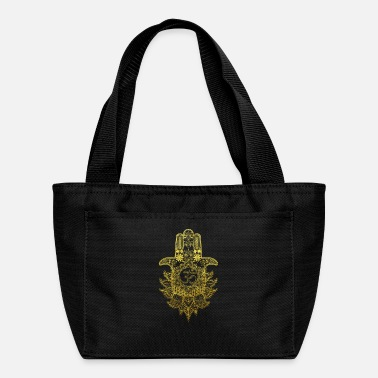 Buddhism Hamsa Hand Mandala with Om sign in gold design - Lunch Box