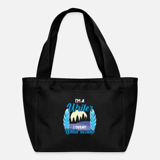 Writers Bags & Backpacks - Writer Poetry Is My Therapy Book Writing library - Lunch Bag black