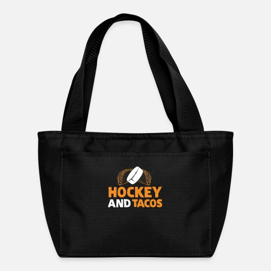 Hockey Bags & Backpacks - Hockey And Tacos Funny Sports Taco Tuesday - Lunch Bag black